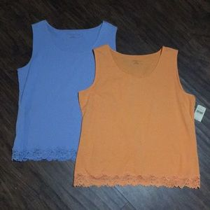 Coldwater Creek Tops - NWT (2) Coldwater Creek Tank Tops w/Lace Trim